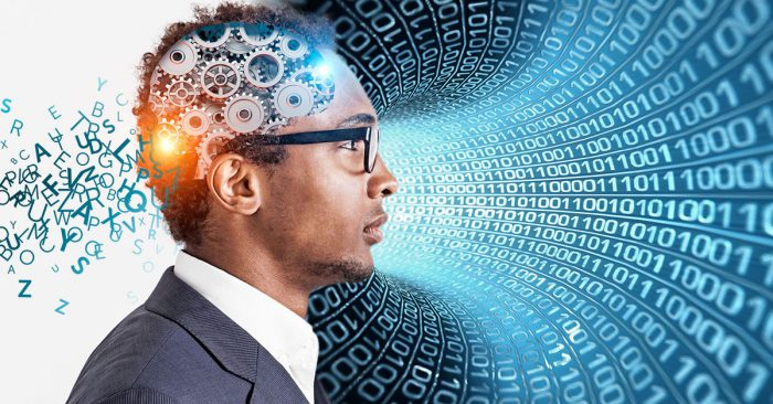 Man with gears in his head, processing language through one side and a tunnel of data on the other